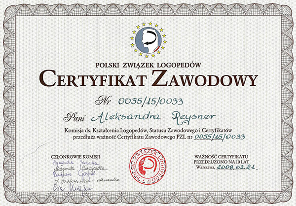 certyfikat logopeda Reysner