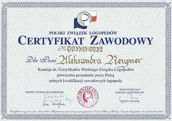 certyfikat zawodowy logopeda Grunwald